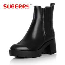 Women's Real Full Grain Leather Kanye Boots 1:1 British Style Waterproof Taiwan Ankle Boots Slip On Square Heel Shoes Size 40