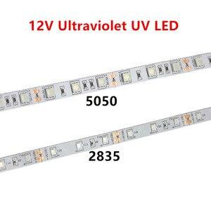 Image 1 - Tira de luces led UV para DJ, tira de luces led UV de 395 405nm ultravioleta 2835/3528 SMD 5050 60led/m, Flexible, tira de cinta, lámpara de 12V para fiesta fluorescente DJ