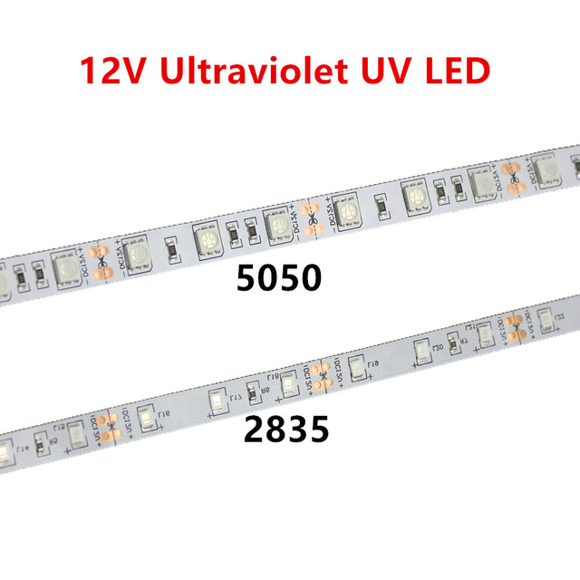 Tira de luces led UV para DJ, tira de luces led UV de 395 405nm ultravioleta 2835/3528 SMD 5050 60led/m, Flexible, tira de cinta, lámpara de 12V para fiesta fluorescente DJ