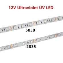 UV led רצועת 395 405nm אולטרה סגול 2835/3528 5050 SMD 60led/m גמיש סרט מחרוזת קלטת מנורת 12V עבור DJ הקרינה מפלגה