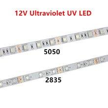 Uv ledストリップ 395 405nm紫外線 2835/3528 5050 smd 60led/mの柔軟なリボン文字列ランプ 12v dj蛍光パーティー