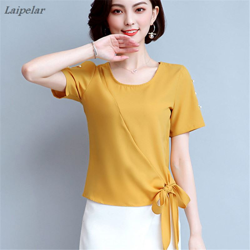 Women Tops Blouses 2018 Summer New Bow Chiffon Blouse Shirt Korean Fashion Casual Loose Ladies Shirts Plus Size Clothing Blusas in Blouses amp Shirts from Women 39 s Clothing