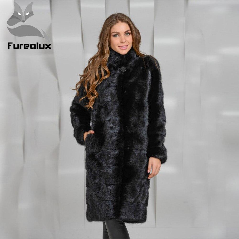 Furealux Real Mink Fur Coat Female Warm Winter Stand Collar New Natural Black Mink Fur Jackets Whole Skin Mink Fur Coat