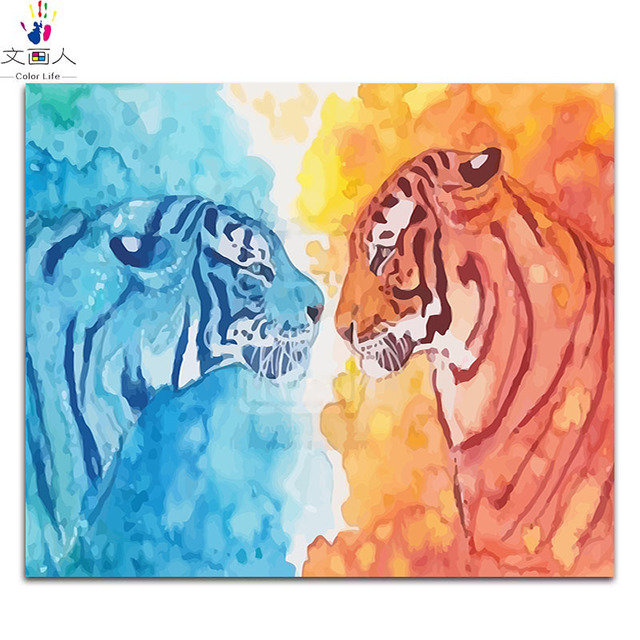 Watercolor animals Ice and fire tiger diy digital oil painting by ...