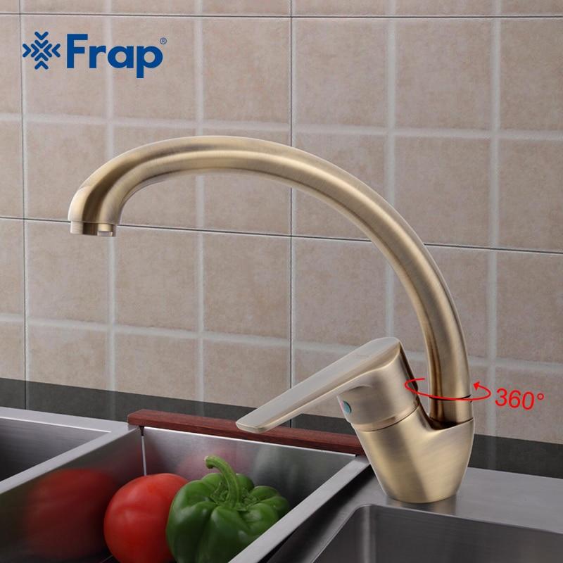 Frap Antique Style Bronze Finish Solid Brass Swivel Spout Kitchen Faucet Single Handle Mixer Tap Deck Mounted F4130-4