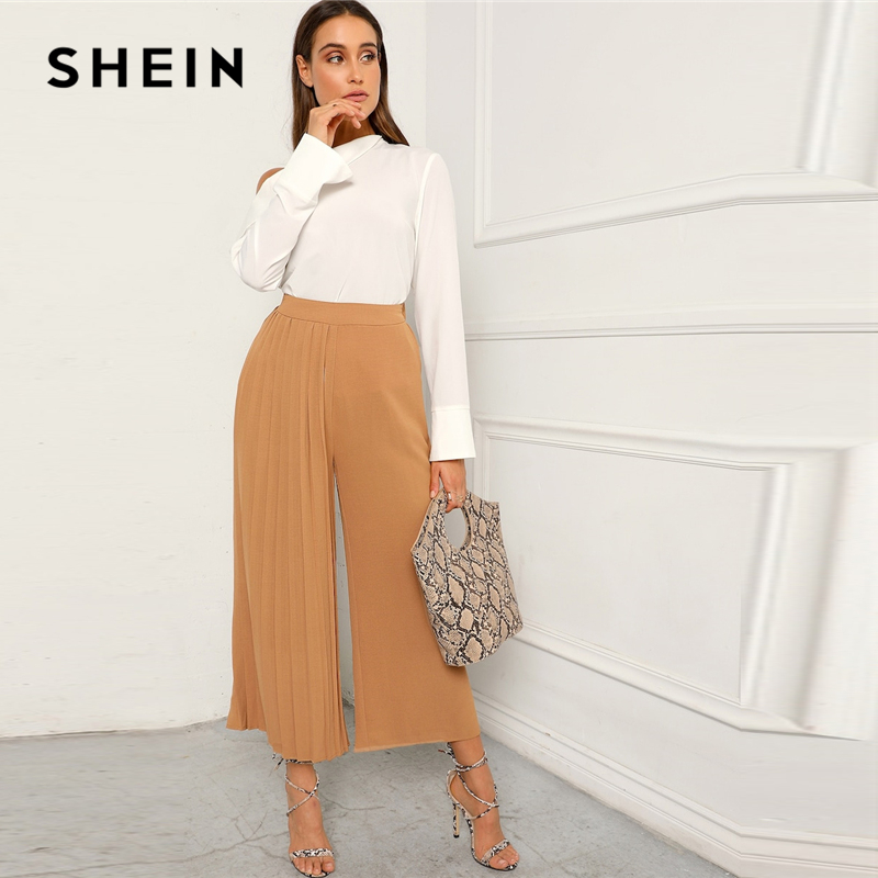 1c1791c49f SHEIN Khaki Boho Pleated Panel Wide Leg Loose Plain Crop Pants Women 2019  Spring Mid Waist Workwear Elastic Waist Trousers-in Pants & Capris from  Women's ...