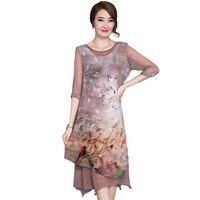 Vintage rayon lange dress 2017 neue sommer hohe qualität silk halbes dress mode elegant lösen plus größe dress YP0227