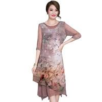 Vintage rayon stampa dress 2017 nuova estate di alta qualità seta mezza manica dress fashion elegante allentato plus size dress YP0227