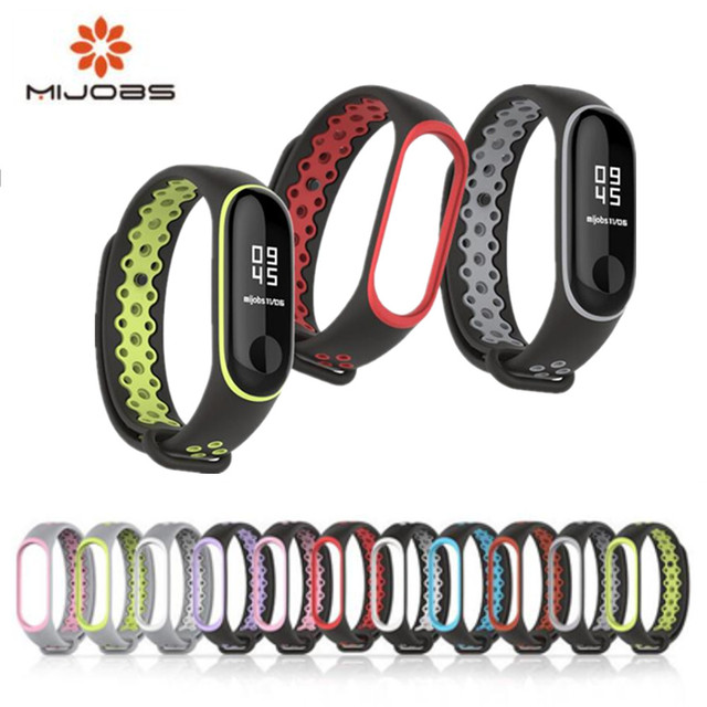 Mijobs smart strap for Xiaomi Mi Band 3 Bracelet Sport Strap For xiaomi mi band 3 strap Colorful Silicone Replacement Band