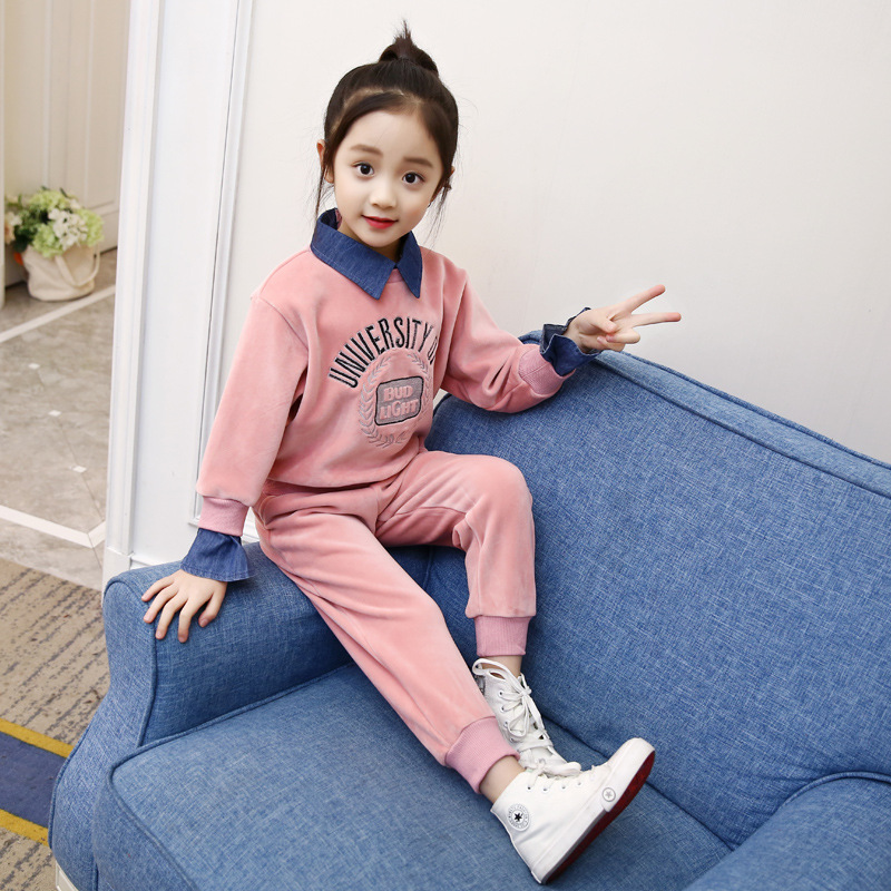 Clothes Set For Girls 3 4 5 6 7 8 9 10 11 Years 2018 Autumn Sports Suit Back To School Outfits Long Sleeve Sweatshirt + Pant 2pc round neck long sleeve 3d coins print sweatshirt