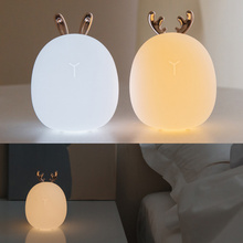 Deers Rabbit Silicone Night Light Touching Chargeable Christmas Atmospheres Lamp  DAG-ship