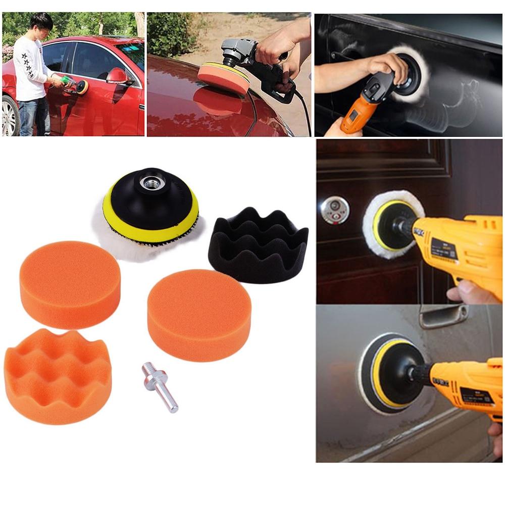 7pcs Buffing Pad Set Thread 3 Inch Auto Car Polishing Pad Kit For Car Polisher + Drill Adaptor M10 Power Tools Accessories