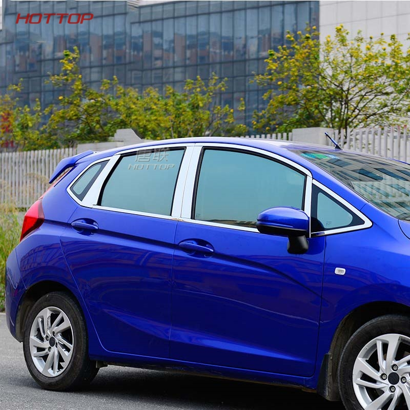 stainless steel glass window garnish pillar middle column strip trim hood For Honda Fit jazz 2014 2015 2016 2017 car body stick