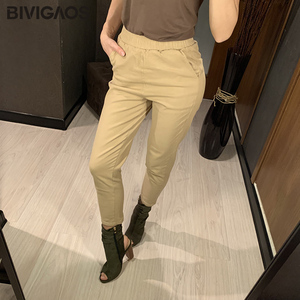 Image 2 - Bivigaos 2019 primavera nova womens algodão macacão casual nona harem calças senhoras rabanete lápis calças soltas calças de carga do vintage