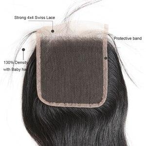 Image 2 - Ali Queen бразильские волосы, свободные волнистые, на шнуровке, натуральные волосы 4*4, швейцарские кружева с плотностью 130% 10 20 дюймов, натуральный черный цвет