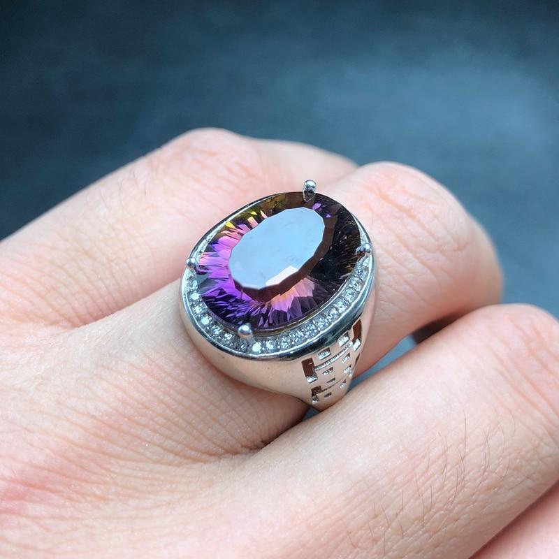กำไลข้อมือ ametrine ธรรมชาติแหวน, สีสวย, 2 สี fire, เงิน 925, แหวนผู้ชาย, ปรับแต่งขนาดหมายเลข-ใน ห่วง จาก อัญมณีและเครื่องประดับ บน   1