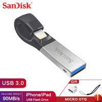 Pen Drive 32 Gb SDIX30N Sandisk Usb Flash Drive 64 Gb Usb 3.0 Otg Lampo Memory Stick Mini Pendrive per iphone Ipad E Pc