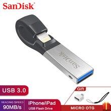 Sandisk mini pena de usb, pen drive 32gb sdix30n 64gb usb 3.0 otg cartão de memória flash para lightning iphone ipad e pc