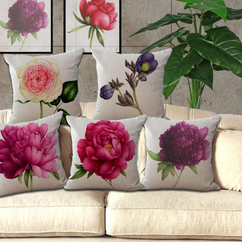 New Rose Flower Small Fresh Cotton Linen Cushion Home Sofa Car Decorative  Pillow Decor Pillow(