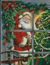 Vyšívaný vánoční obrázek se Santa Clausem 46 x 57 cm