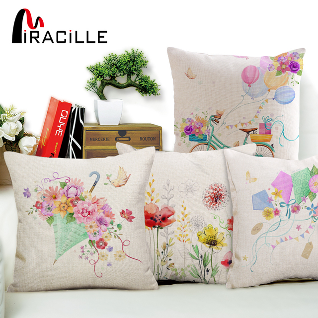 Miracille Farbe Floral Herz Schmetterling Muster Kissen Abdeckungen