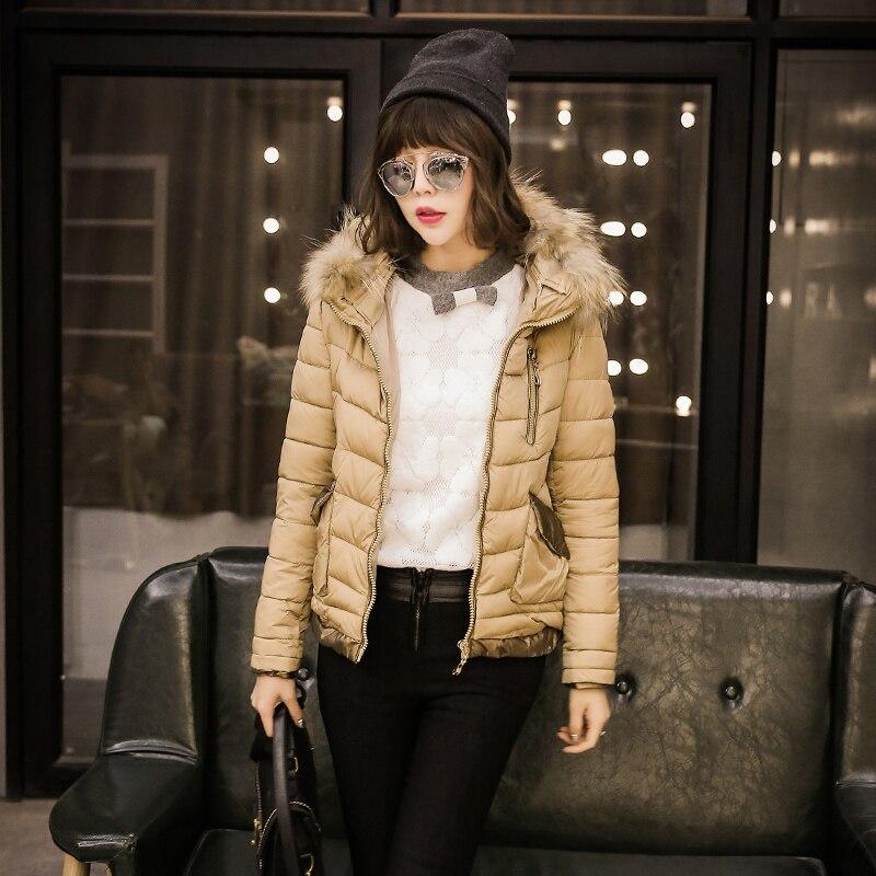 Xsent 2014 женские зимние меховой воротник с капюшоном с длинными рукавами в стиле пэчворк PU стеганая куртка Верхняя одежда, куртка на хлопковой... ...