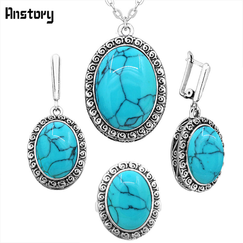 Oval Blue Stone Jewelry...