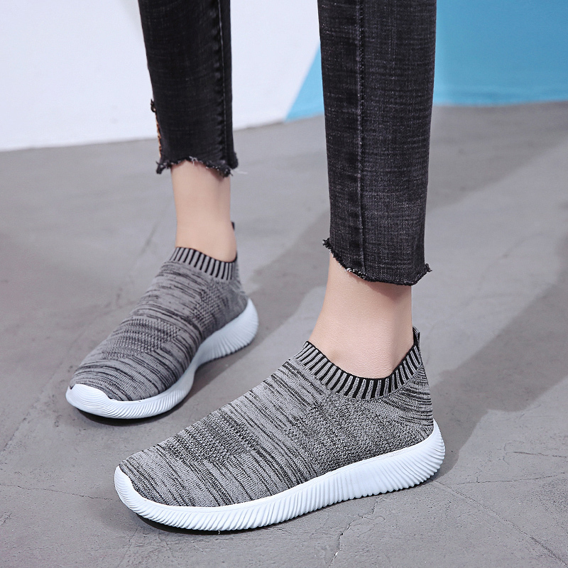 HTB1NrIOacvrK1Rjy0Feq6ATmVXav Rimocy plus size breathable air mesh sneakers women 2019 spring summer slip on platform knitting flats soft walking shoes woman