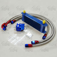 7 Row AN10 Aluminum Engine Transmission Oil Cooler Kit With Oil Filter Relocation Kit 3 Braided