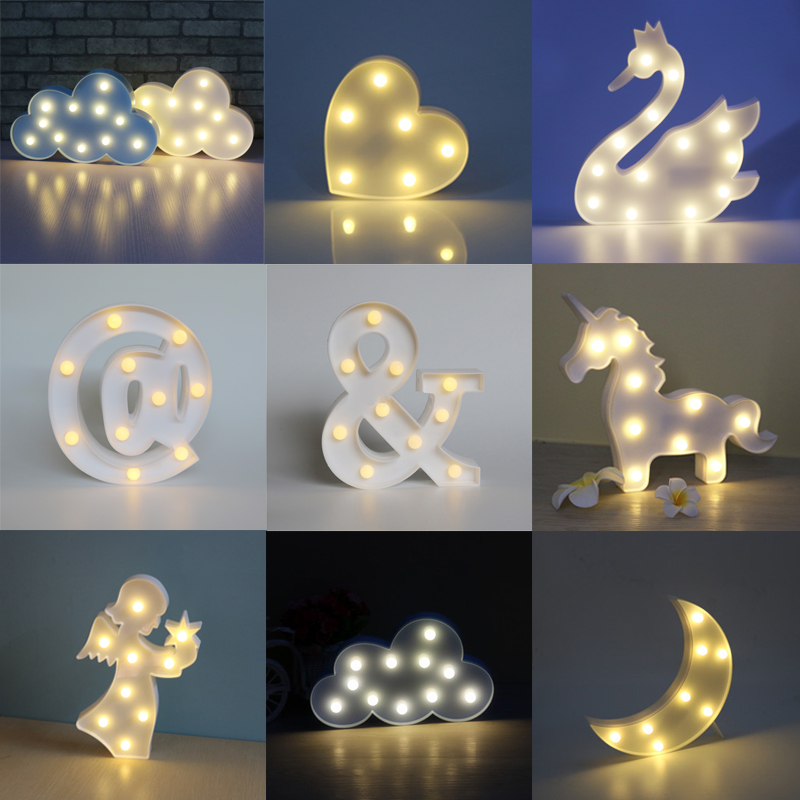 Fashion LED Night Light Creative Cloud Swan 3D Shape Battery Moon Lamp For Baby Kids Gift Nightlight Romantic DIY Bedroom Decor magnetic floating levitation 3d print moon lamp led night light 2 color auto change moon light home decor creative birthday gift