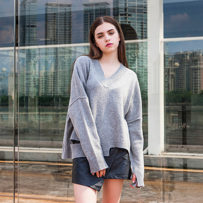 7f0e595c8fb5b  DEAT  High Quality Autumn New Fashion Irregular V Collar Casual Loose Hole  Pullover Sweatshirt