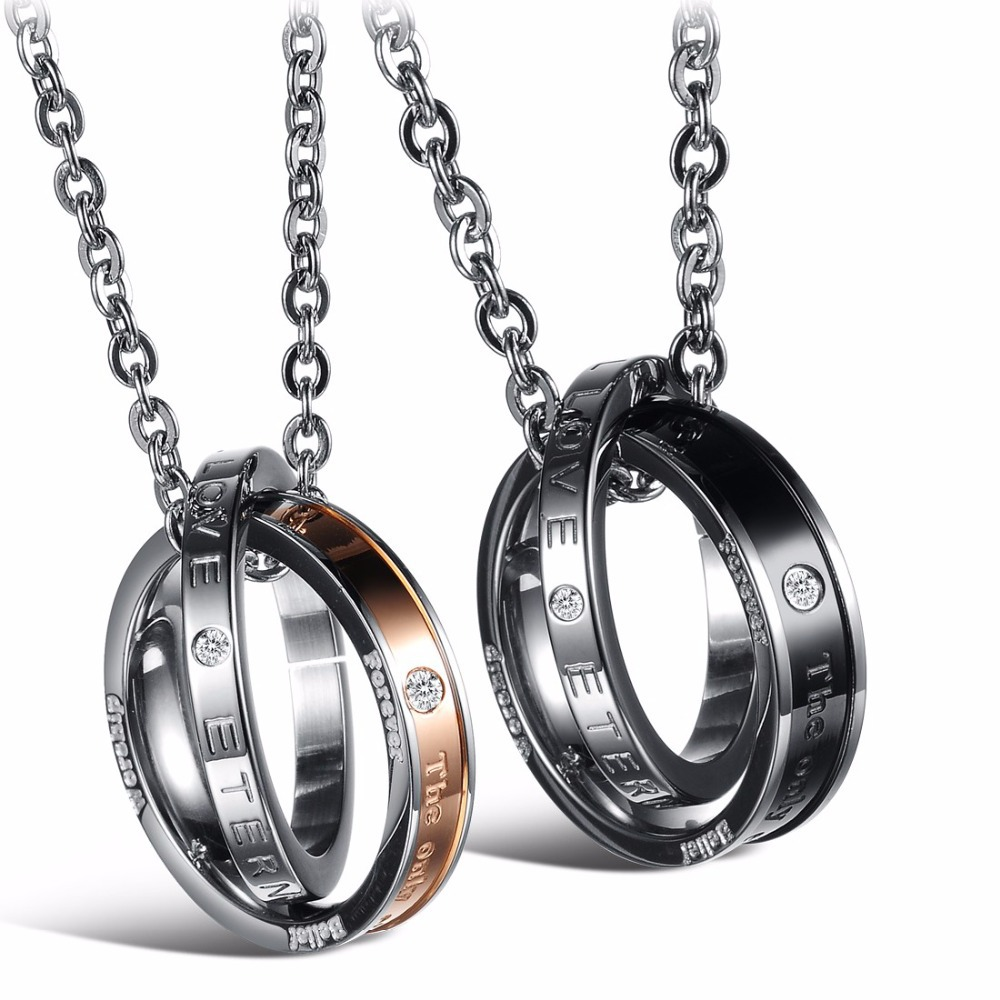 Couple jewelry for lovers pendant necklace stainless steel necklaces forever love romant ...