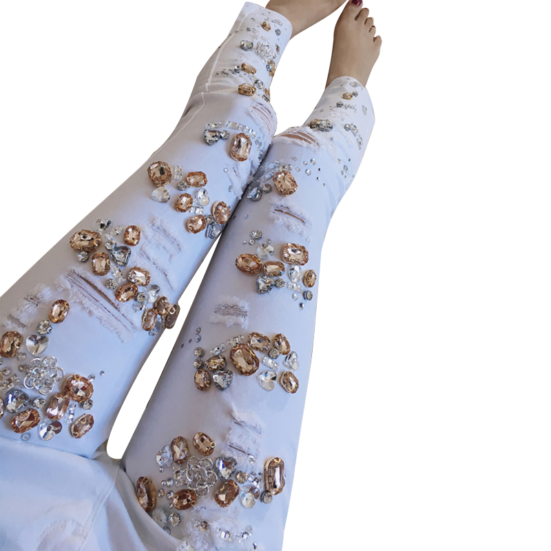 Cool Rhinestones Diamond Jeans for women Jeans femme white ripped jeans casual skinny pencil girl pants