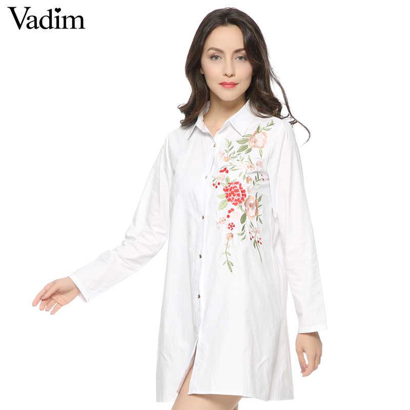 Vadim femmes élégant floral broderie robe à manches longues noir blanc dames décontracté marque mini robes vestidos
