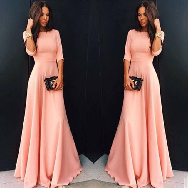 2018 Summer Sexy Elegant Women Half Sleeve Slim Empire O-neck Vestido Evening Formal Party Prom Long Maxi Dress Plus Size S-2XL 19