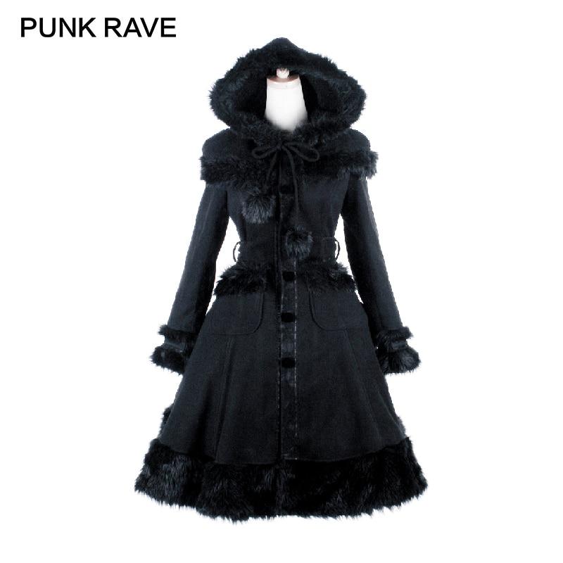 Imitation Pardessus À Noël Doux De Gothique Capuchon Red Veste Punk Lapin Femmes Laine Manteau Patchwork black En Fourrure Steampunk Rave Lolita F1cJKTl