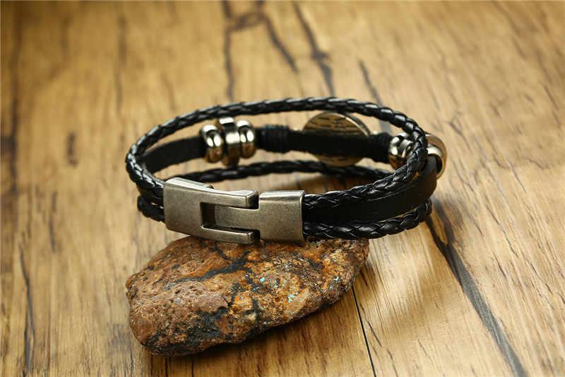Modyle punk style Men Eyes Cuff Bracelets High Quality Alloy Material Leather Bracelet