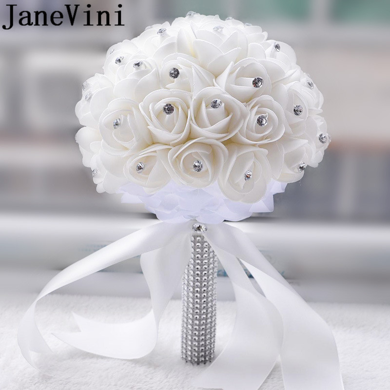 JaneVini White Ivory Wedding Bridal Bouquet Crystal Foam Roses Bride Flower Bouquet Bridal Brooch Fleur Blanche Mariage 2019