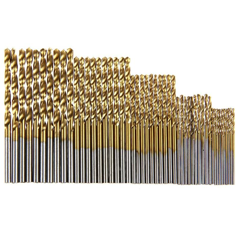 50Pcs 1/1.5/2/2.5/3mm Titanium Coated HSS Drill Bit Set Tool Twist Drill Bit Woodworking Tools For Plastic Metal Wood