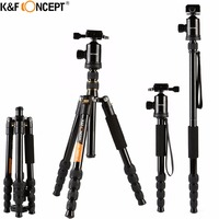 K&F CONCEPT TM2515 Portable Camera Tripod Monopod Lightweight with Ball Head+Quick Release Plate Aluminum For Camera/DV PK ZOMEI
