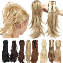 S-noilite 12 DIY Claw Clip Ponytail Pony Tail Clips in Hair Extensions Curly Women Synthetic Bun Amazing Shape