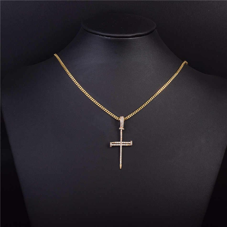 Золотой Циркон ногтей крест кулон Золото Серебро Медь Материал ледяной Крест CZ подвески, ожерелья, цепи модные хип хоп ювелирные изделия