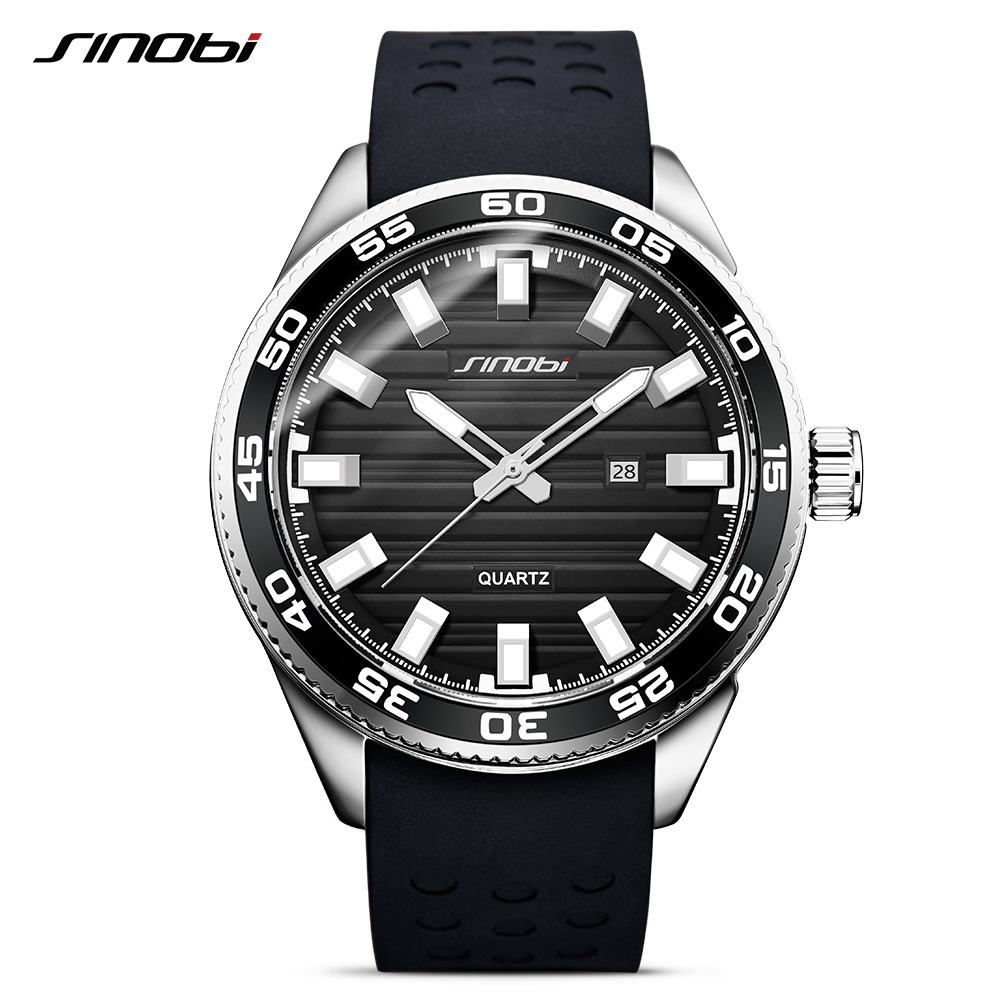 36370a55d2f 2018 New Watches Men Luxury Luminous SINOBI Silicone Men Sports Black  Waterproof Full Steel Quartz Men s