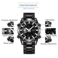 Temeite Brand Gold Mens Quartz Watches Sport Digital Watch Men LED Dual Display Wristwatch Waterproof Luminous Relogio Masculino
