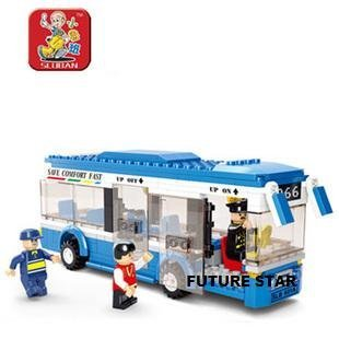 Freeshipping! SLuban Building Block 3D Jigsaw Puzzle City Bus Education-assembling toys for kids 235pcs M38-B0330