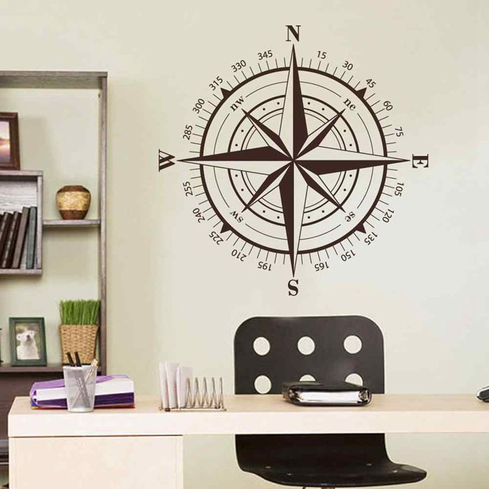 BATTOO Compass Rose Nautical Wall Sticker Compass Star Wall Art Travel Decor Great Christmas Gift Holiday Gifts