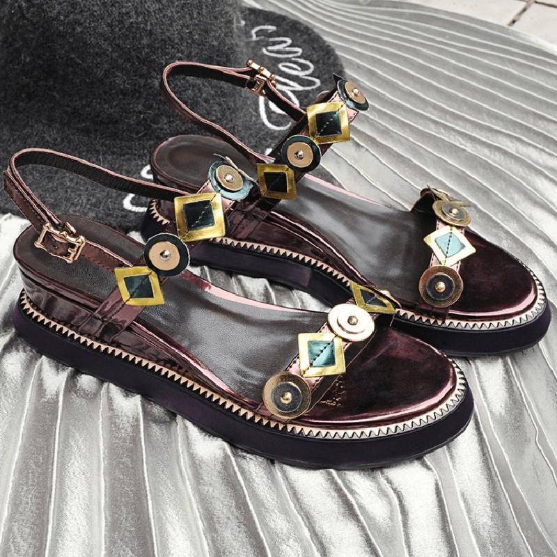 Zapatos 2018 Da Sandali Donne Plataforma Spiaggia Posteriore Metallo Cinturino Decorazione In Estate Mujer Cunei Donna Vintage Scarpe Di Sandalias LMGzqSUVp