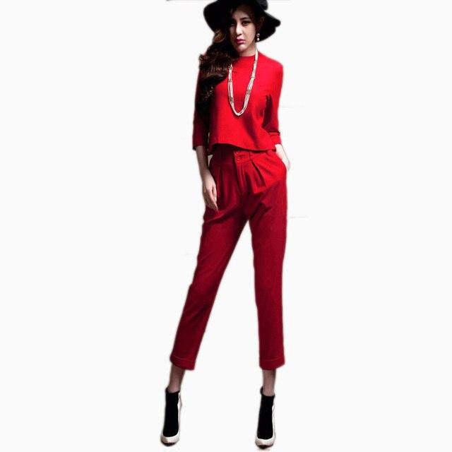 Nuevo 2016 elegante Laides verano pantalones trajes de tres cuartos de las mujeres trajes con Pant negro rojo pantalones blancos fijados