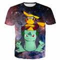 Hipster Espacio Galaxy Camisetas Cool Anime Naruto t shirts Hombres Mujeres Lindo Pokemon Pikachu de la Historieta t shirt 3D Tes de Las Tapas
