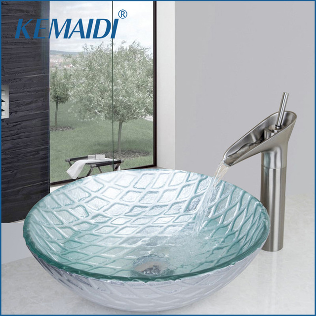 kemaidi bathroom sink bowls tempered glass wash basin vessel sink with waterfall bathroom faucet glass sink - Bathroom Sink Bowls